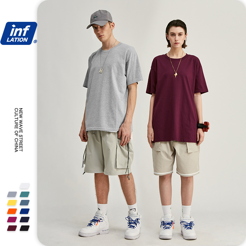 INFLATION 2020 Summer New T-Shirt Men 100% Cotton Solid Color Casual T Shirt Basics O-neck Loose Fit Plus Size Male Tee 1000S20