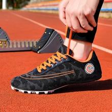 Men Women Sport Track & Field Shoes Outdoor Women Racing Running Shoes Black White Man Match Spike Trainer Big Size