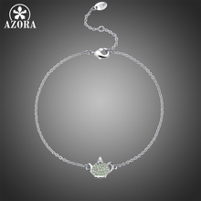 AZORA Fashion Round Cut Green Cubic Zirconia Bracelets for Women Girls Kettle Bracelets & Bangles Wedding Jewelry Gifts TS0214 drop shipping high quality natural green dongling jades bangles bracelets round bangles gift for fashion elegant women jewelry