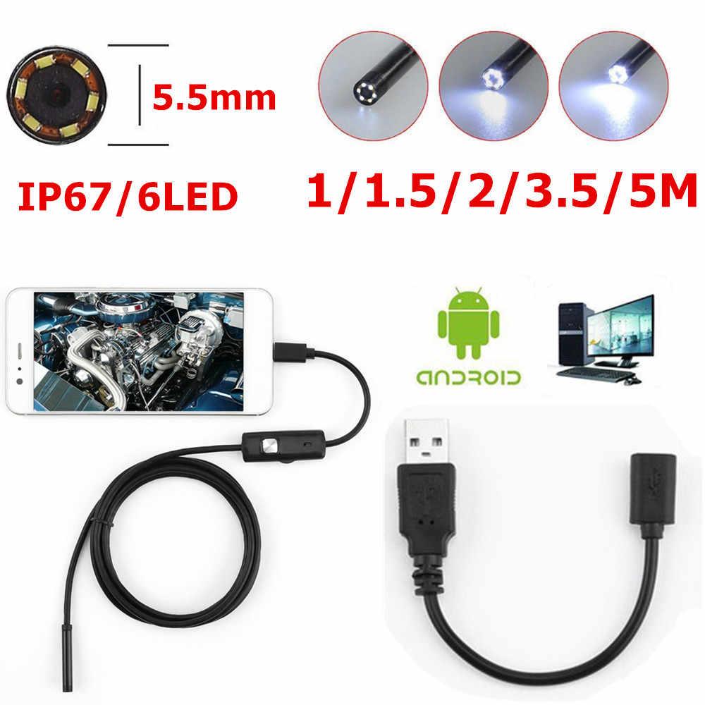 6 LED 5.5mm Lens Endoscoop Waterdichte Inspectie Borescope voor Android Focus Camera Lens Usb-kabel Waterdichte Endoscoop