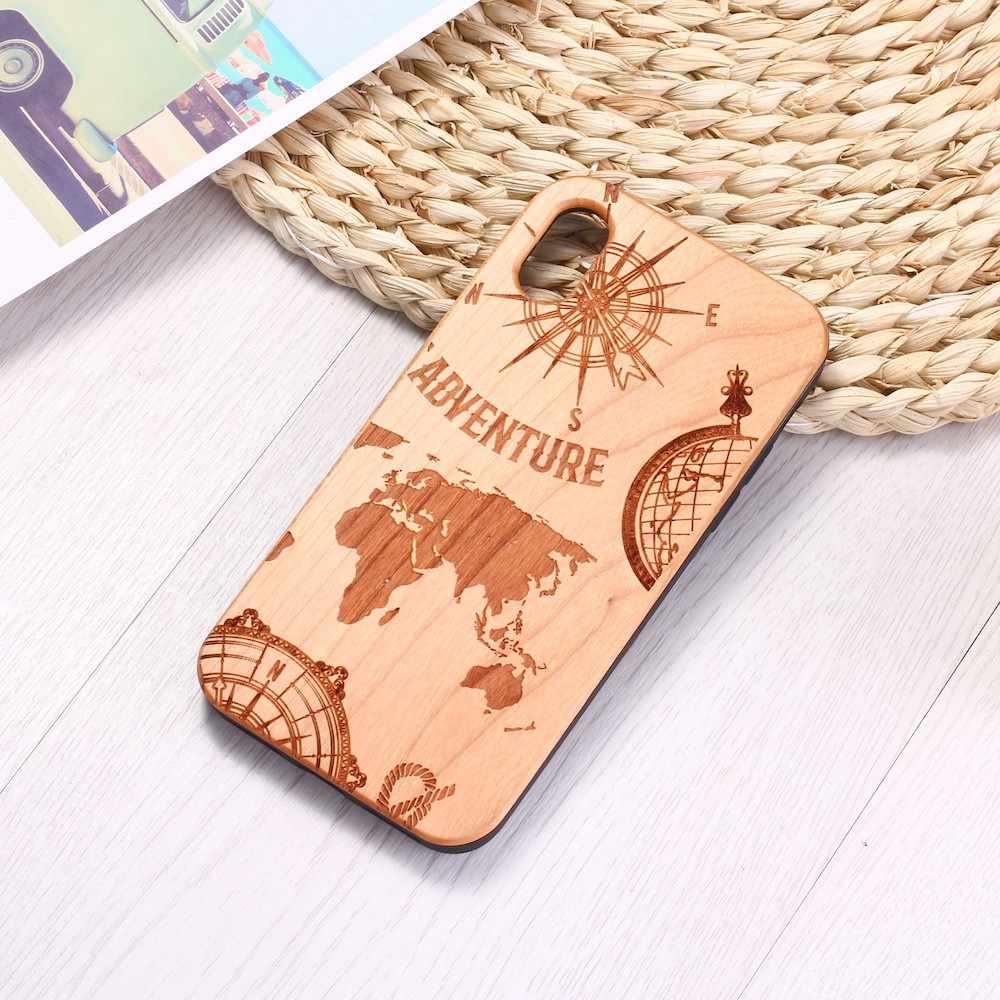 Kazınmış Deniz Dünya Haritası Seyahat Pusula Doğa Ahşap Telefon iphone için kılıf 6 6S 6 Artı 7 7 Artı 8 8 artı X XR XS Max 11 Pro Max