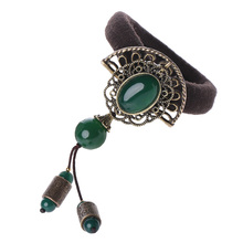 Ethnic Green Agate Hair ropes Vintage elastic string Jewelry Chinese Ancient style ring rubber band Accessory