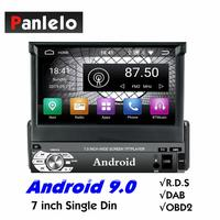Panlelo T3 1 Din Android 9.0 Car Stereo Music Audio Player Android 7 inch Quad Core 1080HD GPS Navigation Audio Radio BT Call