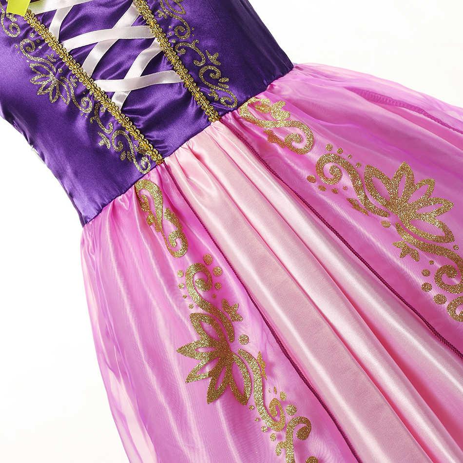 Платье Рапунцель для маленьких девочек; Детские вечерние платья принцессы на Хэллоуин для костюмированной вечеринки; Платье принцессы с пышными рукавами; Кружевное лоскутное платье для выпускного вечера для девочек