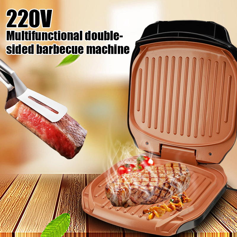 220v Electric BBQ Grill 900W Household Barbecue Machine Grill Electric Hotplate Electric Gril Grilled Meat Pan Smokeless