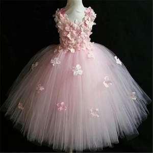 Качественное розовое свадебное платье принцессы с цветами и лепестками для девочек; Фатиновые вечерние пышные торжественные платья для де...