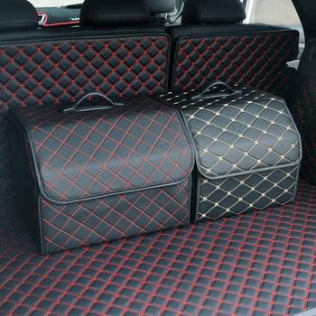 Car Storage Bag PU Leather Trunk Folding Boot/ Food/Stuff Car Storage Stowing Tidying Auto Trunk Box Organizer Car Accessories
