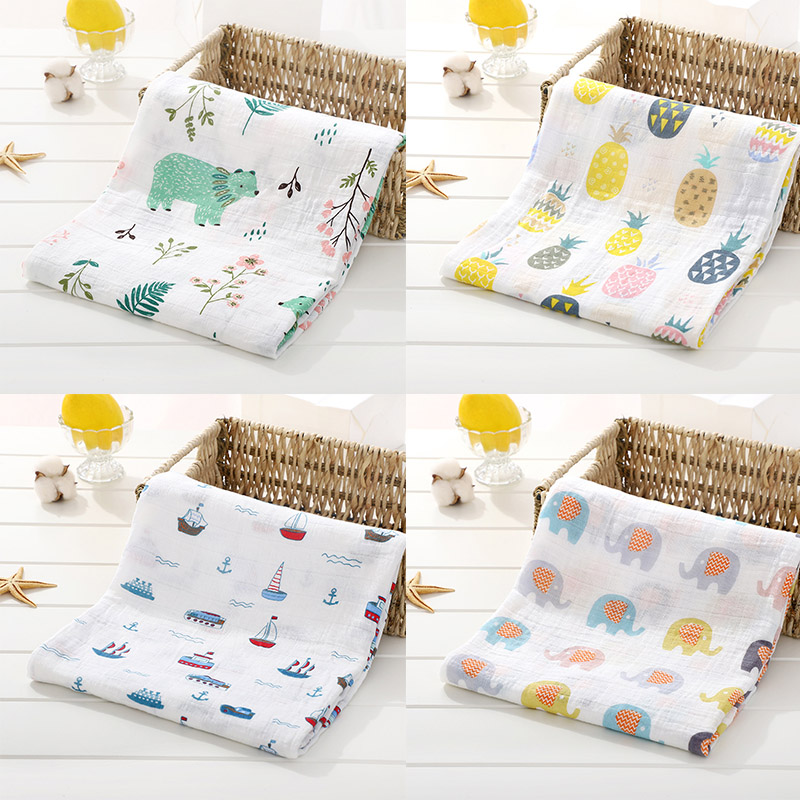 2 Layers Muslin 100% Cotton Baby Swaddle Cartoon Soft Newborn Blankets Bath Gauze Infant Wrap Sleepsack Stroller Cover 120*120cm
