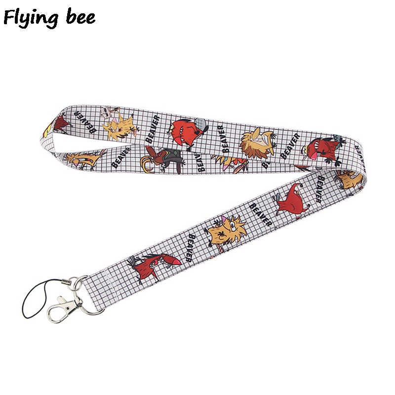 Flyingbee Beaver Keychain Cartoon Anime Animal Phone Lanyard Fashion Strap Neck Lanyards For ID Card Phone Keys X0515