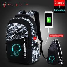 Новые мужские водонепроницаемые Оксфордские рюкзаки, светящиеся, usb зарядка, Противоугонный рюкзак, школьные рюкзаки для мальчиков-подростков