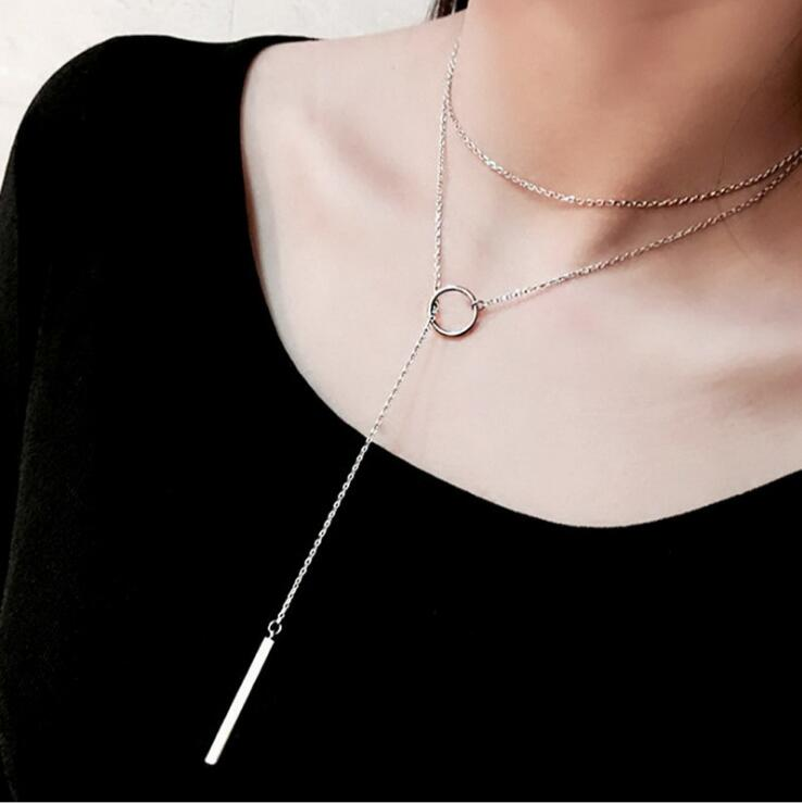 925 Silver women necklaces Circle with bar chian necklace for women