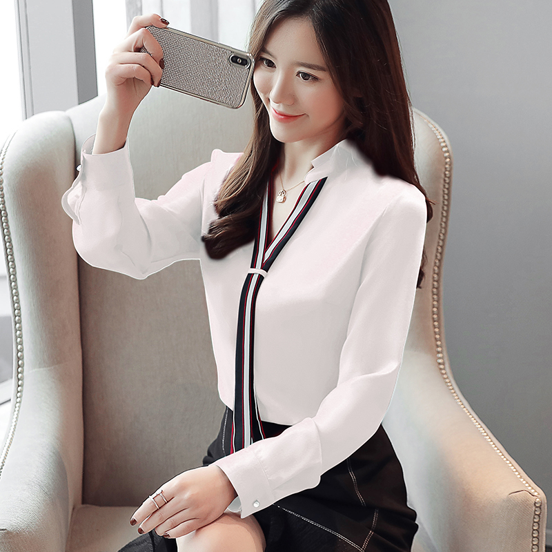 New Stand Collar Pullover Blouse Women Tops Chiffon Office Lady Long Sleeve White Red Women's Blouse Shirt Blusas Mujer 6469 50 4