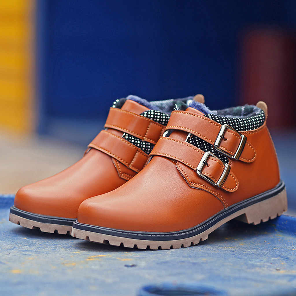 Fashion Boy Big Casual Leather Boots Winter Autumn Baby Teenager Boy Round Head Shoes New 2019 Casual Comfortable Ankle Boots