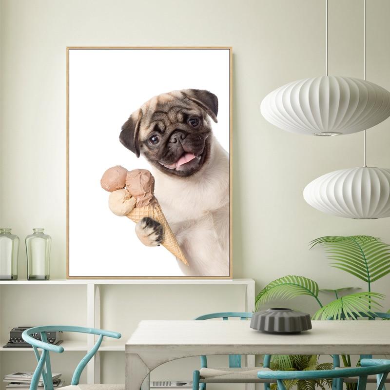 Картина на холсте с изображением милого мопса собаки и кошки, настенное искусство, забавные животные, держите винибус, Постер, принты, настенные картины для гостиной, домашний декор