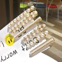 Fashion Korean Sweet Clips Women Hair Accessories Metal Pearl Hairpins Lady Simple Clip Barrette Headwear