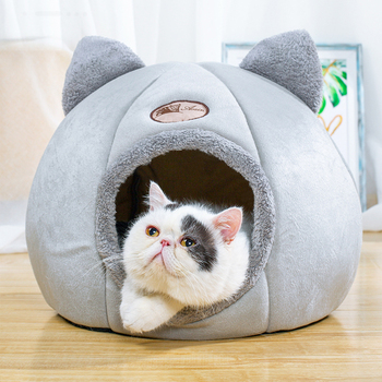 Foldable and Removable  Cat Bed Self Warming for Indoor Cat Dog House with Mattress Puppy Cage Lounger Grey ropa para perro Drop 1
