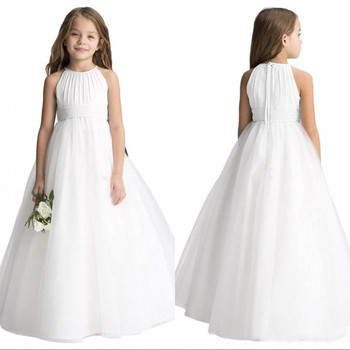 Custom White Ivory Flower Girl Dresses Jewel Tulle Satin Girls Pageant Gowns First Communion Dress Size 2-16Years