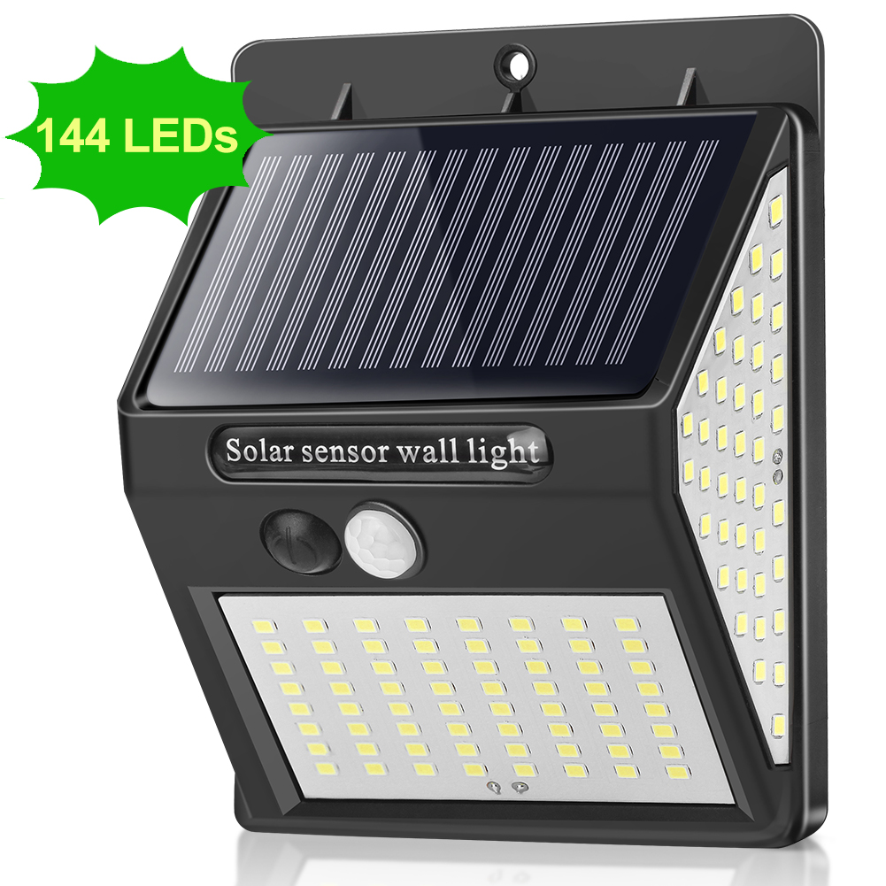 144 LEDs Outdoor LED Light PIR Motion Sensor Wall Lamp Outdoor Solar Lamp Waterproof Light For LED Exterior Garden Decoration