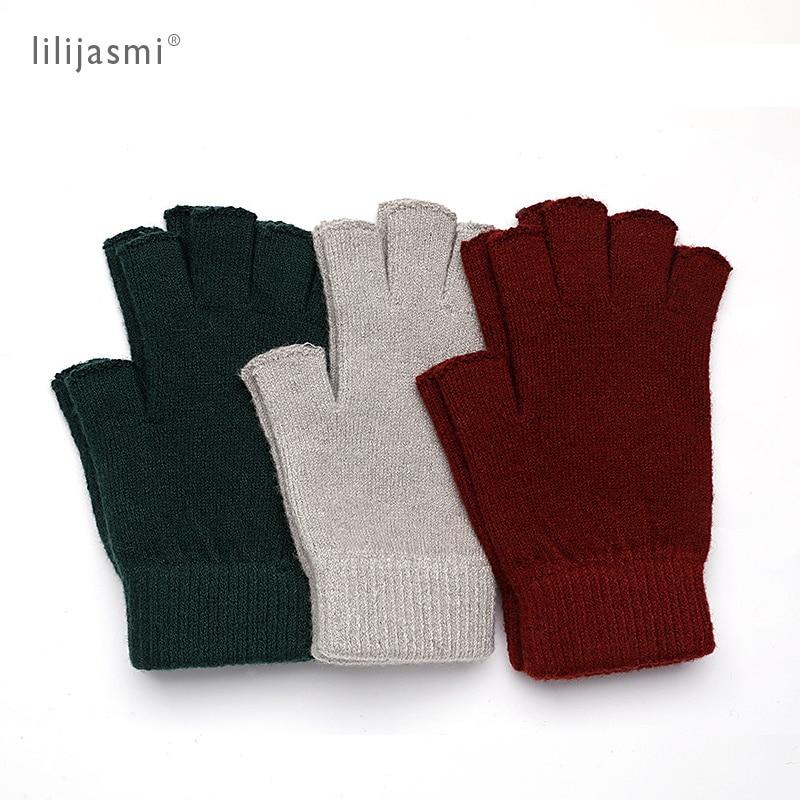 Sale Wool Mitt Exposed Fingertip Women's Gloves Winter Autumn Work Gloves Knitted For Women Fingerless Gloves Drive Mittens