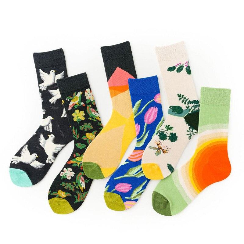 Fall And Winter Women Funny Socks Men Flower Bird Pattern Short Sock EU Size 37-45 1 Pair