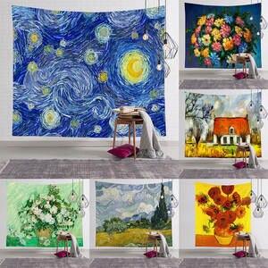 Pintura Al /Óleo Tapiz Colgante De Pared Vincent Van Goghs Starry Night Tejido De Poli/éster De Gran Decoraci/ón Art/ística De Sal/ón Dormitorio,150/×130Cm. PatTheHook Tapiz De Pared