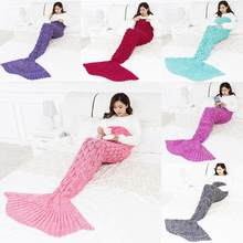 Colorful Mermaid Blanket Warm Mermaid Tail Cover For Sofa Bedroom Adult Children Relax Sleeping Nap Crochet Blankets(China)
