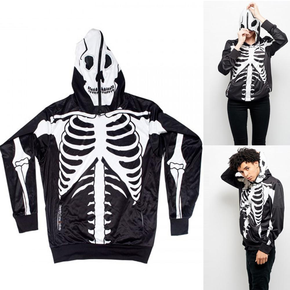 ZACOO Couple Halloween Skeleton Hoodie Sweatshirt With Mask Printing Unisex Baseball Pullover