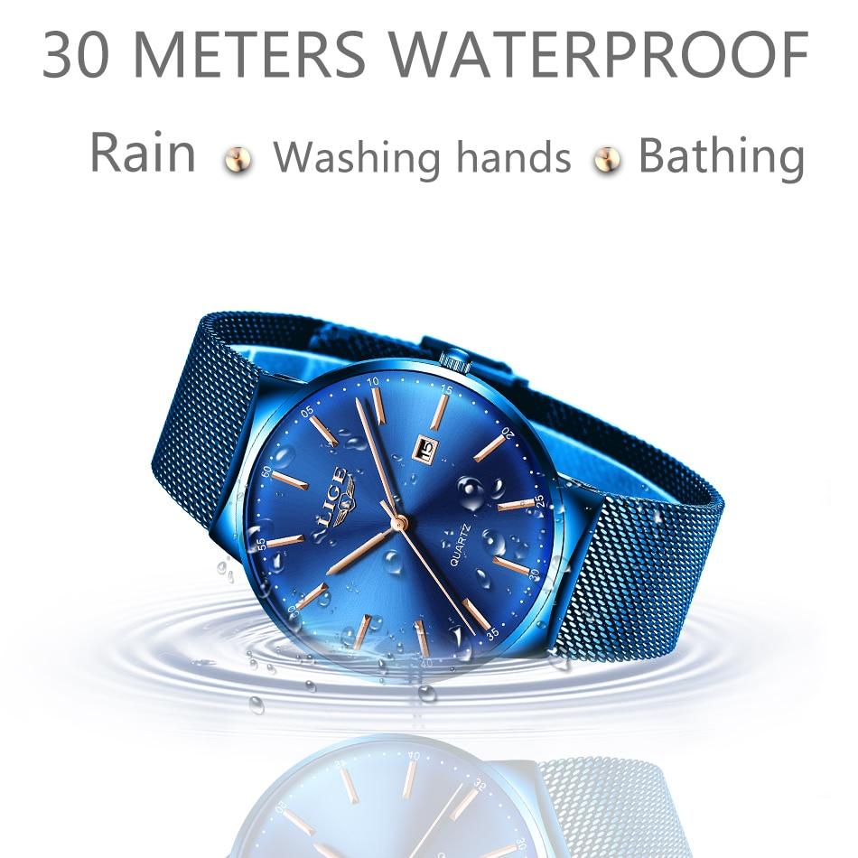 LIGE Womens Watches Top Brand luxury Analog Quartz Watch Women Full Blue Mesh Stainless Steel Date Clock Fashion Ultra-thin Dial 4