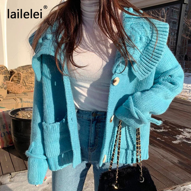 หวานCropped Cardigan Lazy Oaf Winterเสื้อกันหนาวผู้หญิงเกาหลีน่ารักKawaiiถักสีขาวฤดูใบไม้ร่วง2019 Jersey Mujer Casual Blue Kazak