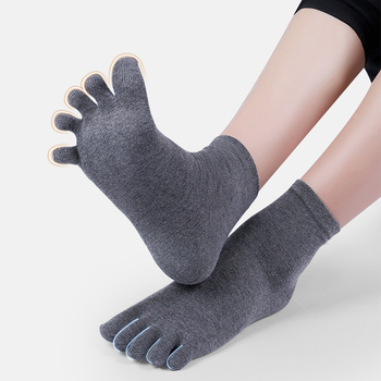 Toe Socks Men and Women Five Fingers Breathable Cotton Sports Running Solid Color Black White Grey Blue khaki coffee - discount item  15% OFF Women's Socks & Hosiery