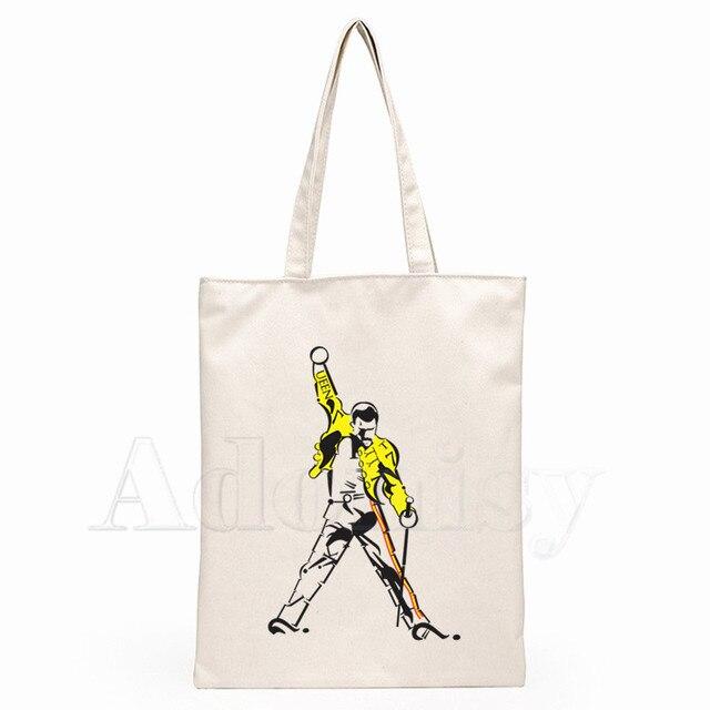 The Queen Band Freddie Mercury Print Reusable Shopping Bag Women Canvas Tote Bags Printing Eco Bag Cartoon Shopper Shoulder Bags 4
