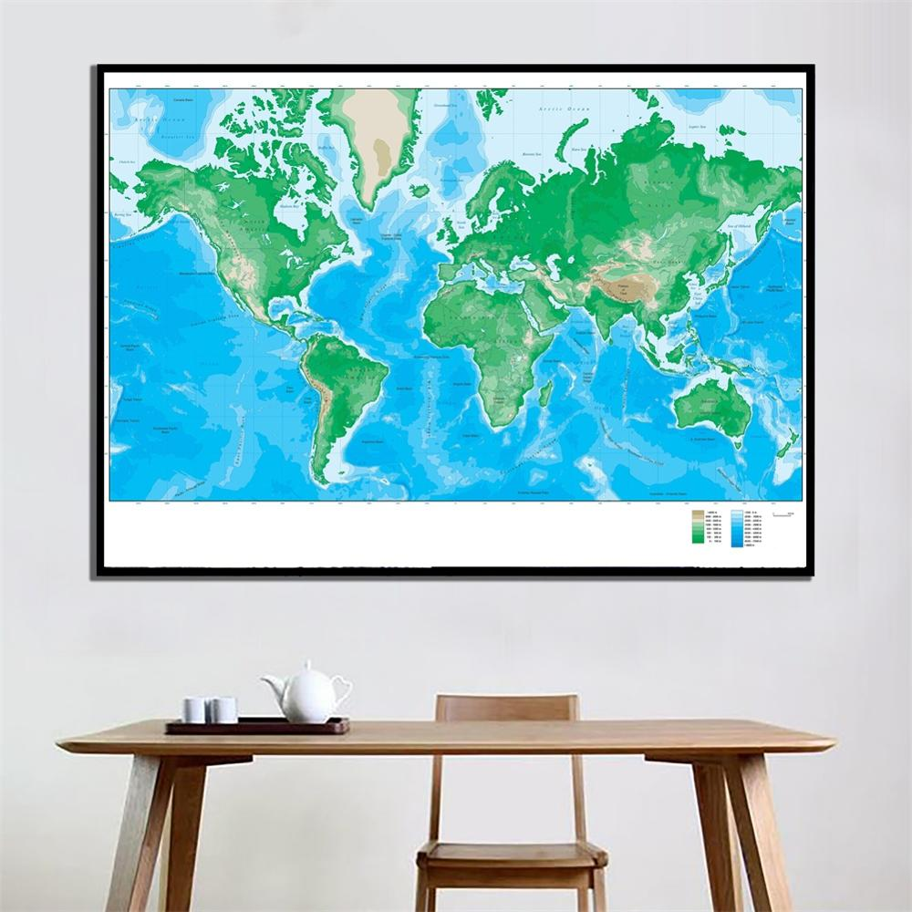 2x3ft World Elevation Map Simple Home Office Decor Canvas Painting For Living Room Wall Decorration