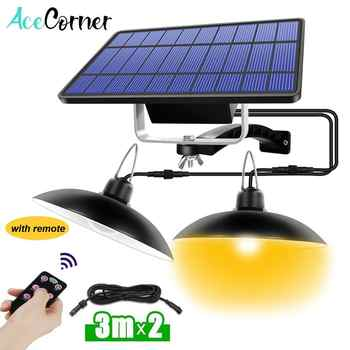 Acecorner Remote Control Solar Pendant Light Double Head Outdoor Indoor Solar Lamp Lighting for Camping Garden Yard Barn Farm - DISCOUNT ITEM  25 OFF Lights & Lighting