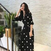 Новое корейское винтажное летнее платье для женщин в горошек с v-образным вырезом Бандажное офисное вечернее платье повседневное сексуальн...