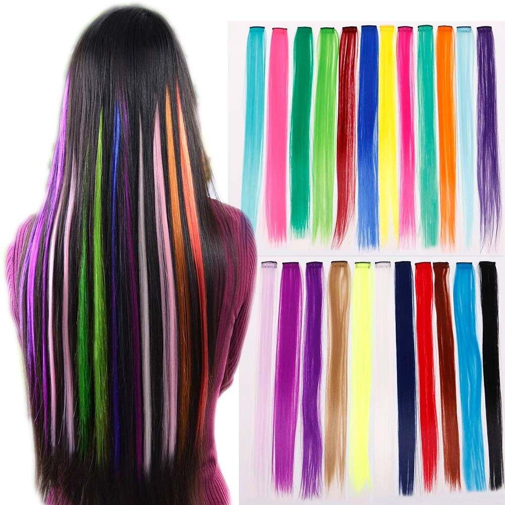 50cm Hair  Extensions Blue Purple Hair Strand Fashion Synthetic Hair Extension  Miniature Crochet Knitting Long Braid Head Rope