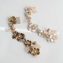 العتيقة الذهب الأزهار طويلة مشط اكسسوارات الزفاف ورقة النساء خوذة اليدوية اكسسوارات الزفاف الشعر مجوهرات