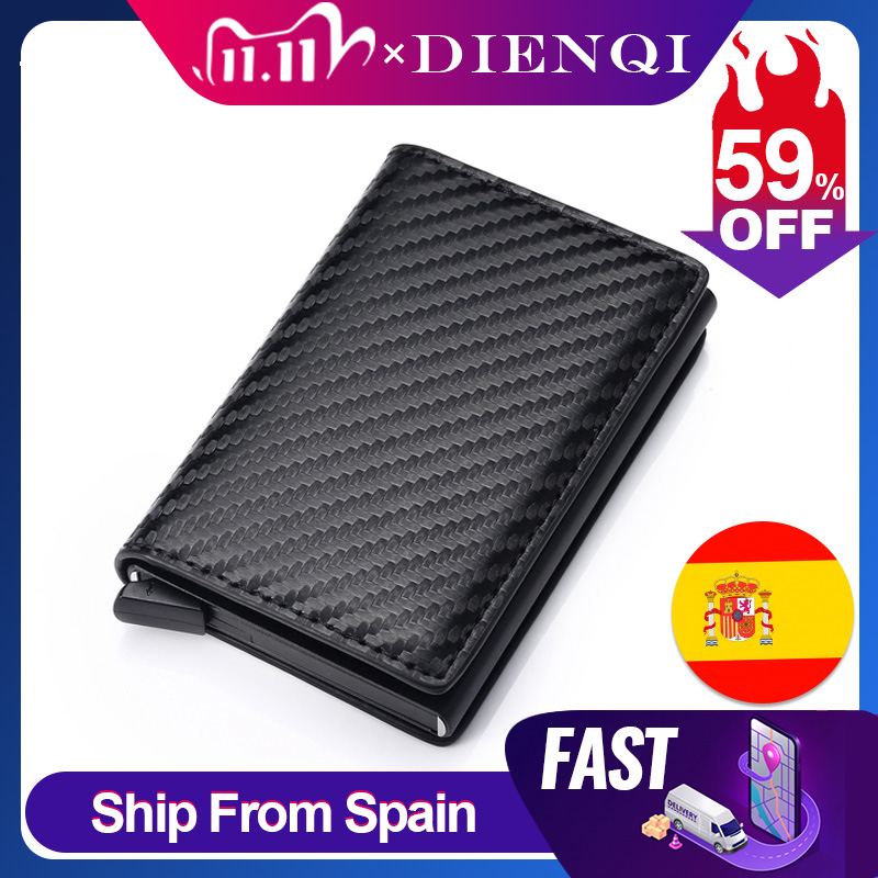 DIENQI Carbon Fiber RFID Blocking Men\'s Credit Card Holder Leather Bank Card Wallet Case Cardholder Protection Purse For Women