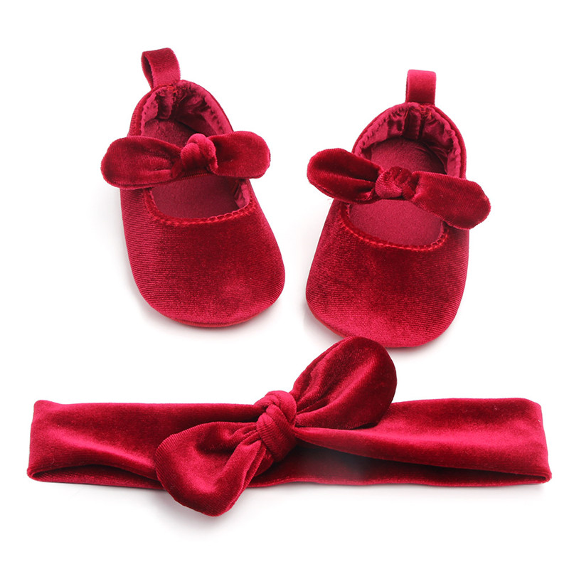 Newborn Baby Girl Soft Gold Velvet Shoes With Hairband Infant Bowknot First Walkers Autumn Spring Red 0-18M