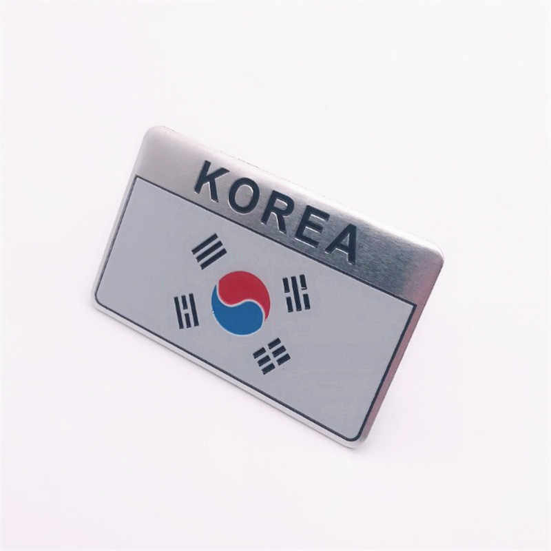 Aluminum Alloy Rectangle Styling South Korea National Emblem Korean Flags Car Stickers 8x5cm