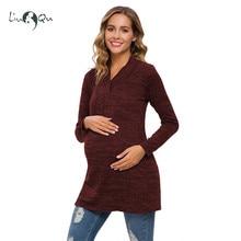 Женский свитер для беременных, вязаный свитер для беременных, туника с длинным рукавом, Одежда для беременных, зимний теплый шерстяной пуловер, длинный свитер