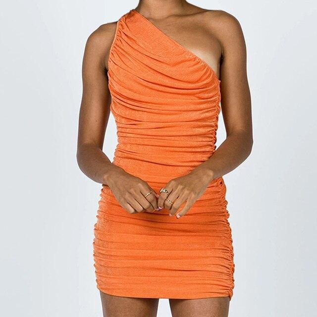 Sexy One Shoulder Mini Dress Summer Blue Orange Short Party Dress Women Sleeveless Ruched Bodycon Dress 2021 4