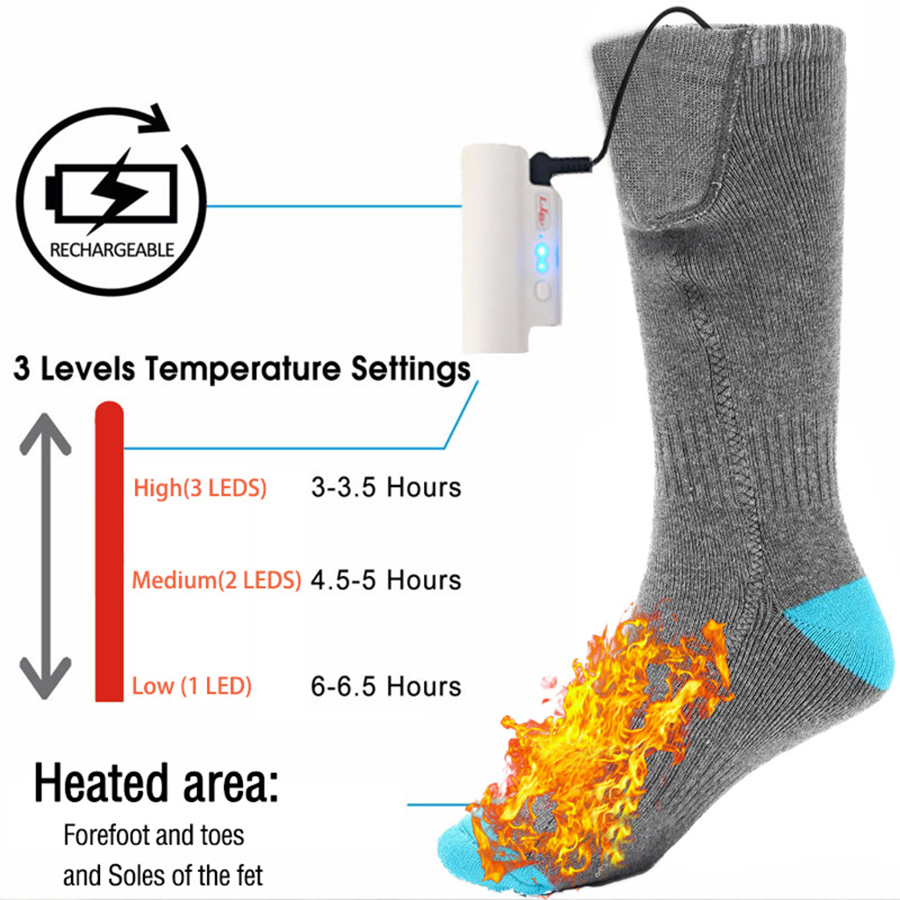 Outdoor Warm Heating Socks Men's And Women's Electric Winter Foot Warmer With Battery Heated Socks  Skateboard