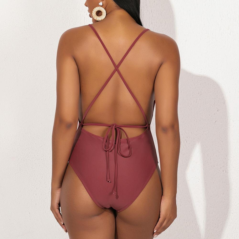 2020 One-piece Swimsuit Women  Push Up Swimwear Women Shoulder Swimsuit Bodysuit Bathing Suit Swim Wear 4