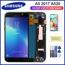 ЖК-дисплей для Samsung Galaxy A5 2017 A520F, сенсорный экран с цифровым преобразователем, стекло в сборе, запасные части