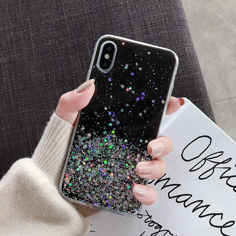 Hfb45ace9b3b24ff9815ddb73efc2b649w - WALITIAN Luxury Bling Sequins Star Glitter Phone Case Cover Case Transparent Soft TPU Fitted Case Apple Iphones