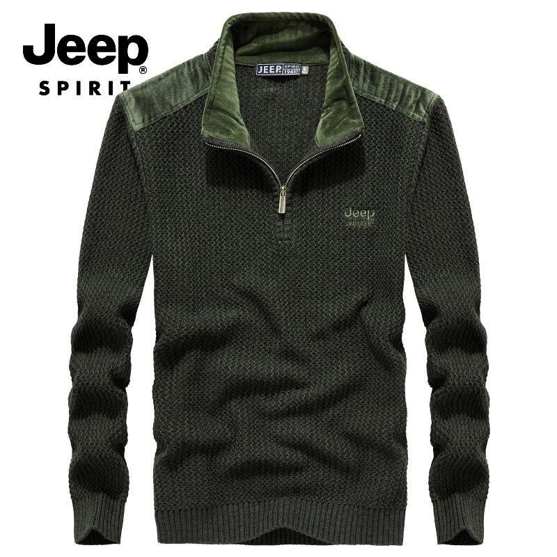 JEEP SPIRIT/известный бренд, свитер для мужчин, Осенний пуловер в стиле пэчворк, Мужская стойка молния с длинными рукавами, воротник, теплая трико...