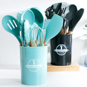 1PCS Silicone Cooking Tools Kitchen Utensils Set With Storage Box Turner Tongs Spatula with Wood Handle Nonstick Cookware 1