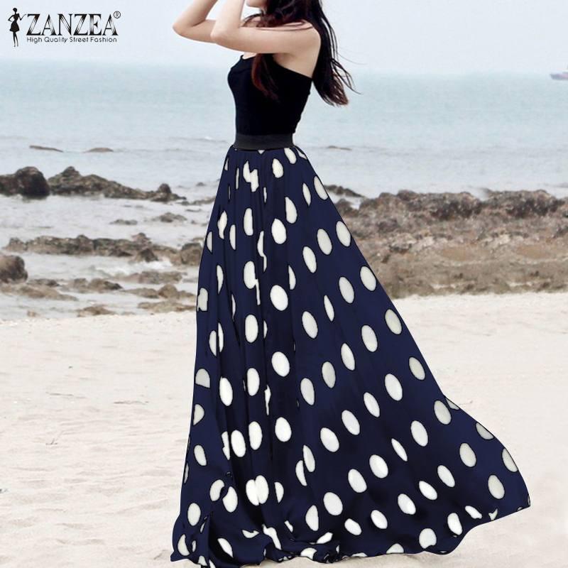 ZANZEA Women Vintage High Waist Polka Dot Skirts Summer Bohemian Long Skirts Casual Beach Party Vestido Faldas Saia Femme Jupe