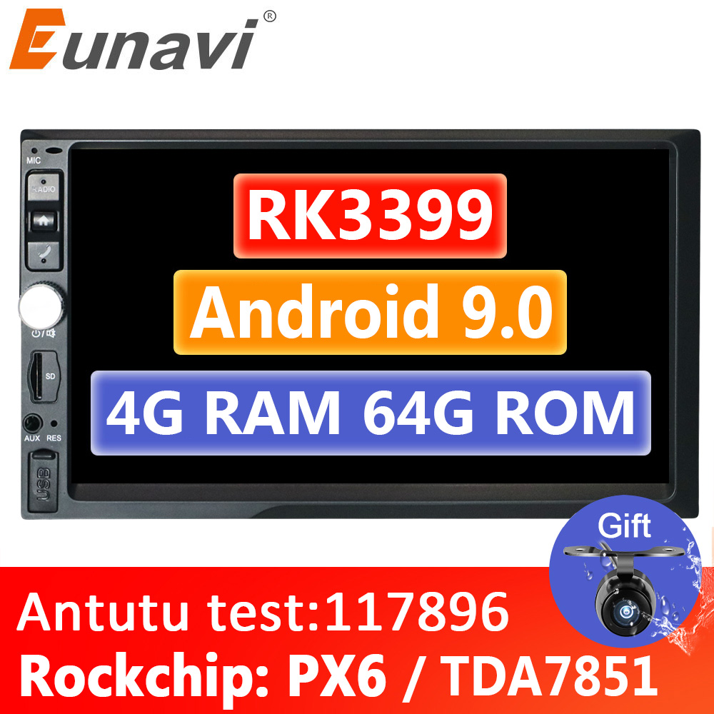 Eunavi 2 Din 7'' Android 9,0 4GB 64GB Universal Auto Multimedia-player Radio Stereo GPS navigation 1024*600 IPS WIFI 4G KEINE DVD