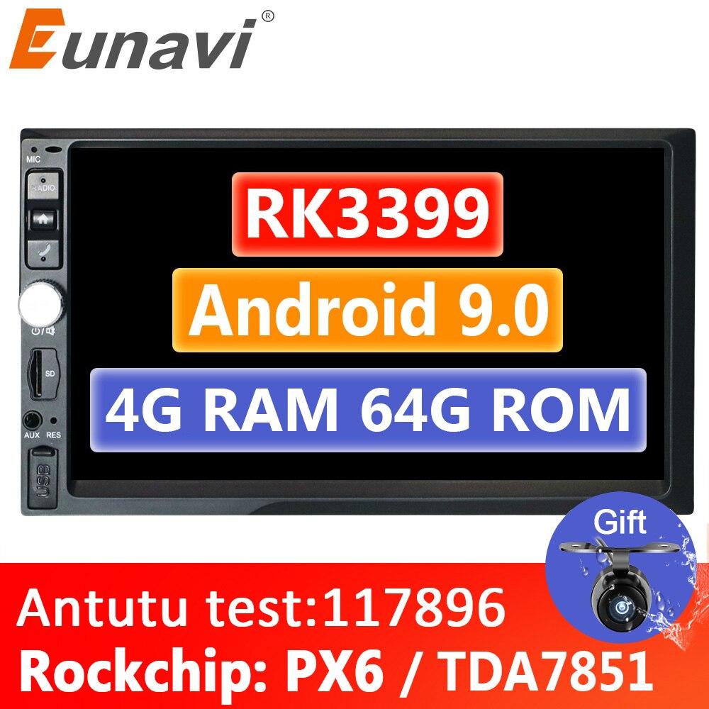 Eunavi 2 Din 7 ''Android 9,0 4 Гб 64 Гб универсальный автомобильный мультимедийный плеер Радио Стерео GPS навигация 1024*600 IPS WIFI 4G без DVD